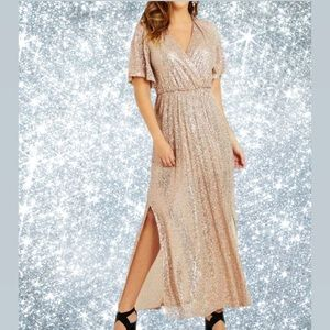 NWT Cream Colored Sequin Gown